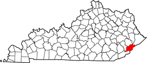 Map of Kentucky Counties featuring Letcher County