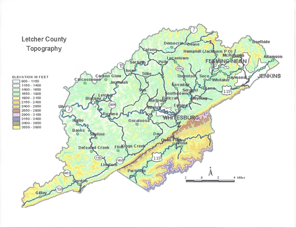 Letcher County topographical map